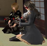 正客のYanaさんから次客のmizukiさんに茶碗を手渡し
