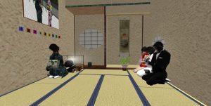 和菓子を懐紙を持って食べる