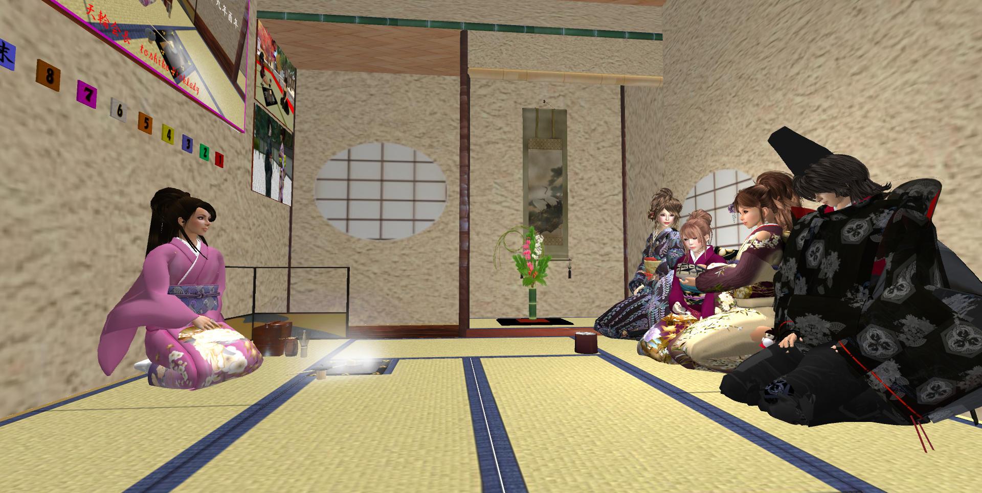 次客のReikoさんから三客のLanaさんに濃茶を手渡し