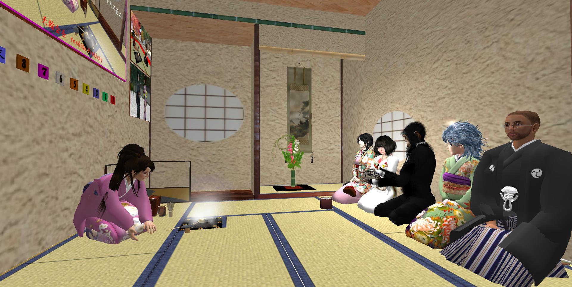 次客のるみさんから三客のボスに濃茶を手渡し