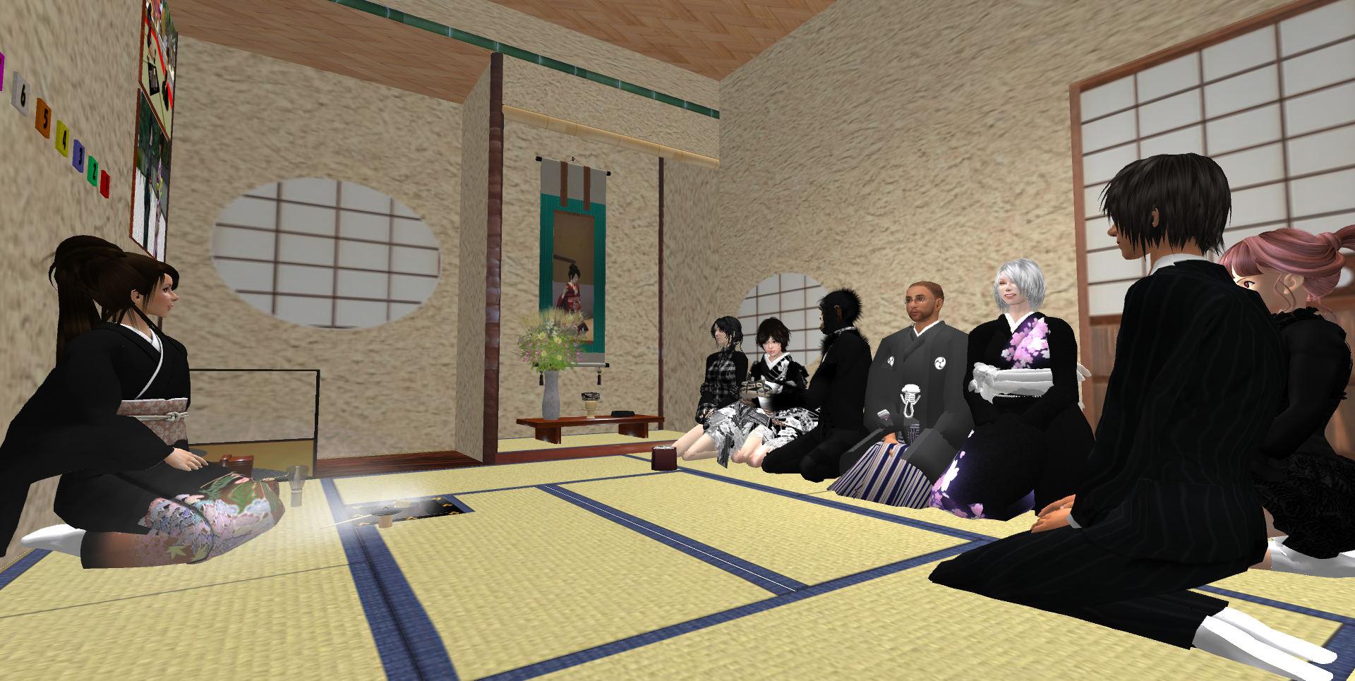 次客のrumiさんから三客のボスに濃茶を手渡し